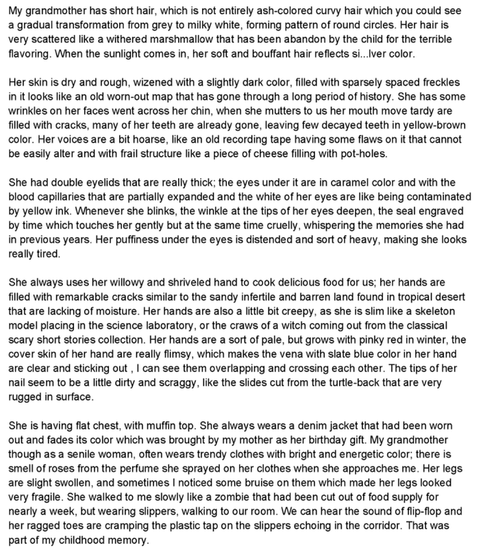 descriptive essay about your grandmother Descriptive paragraph (my grandmother) when my grandmother walks into the room with her big and pearly smile descriptive essay (my grandma.